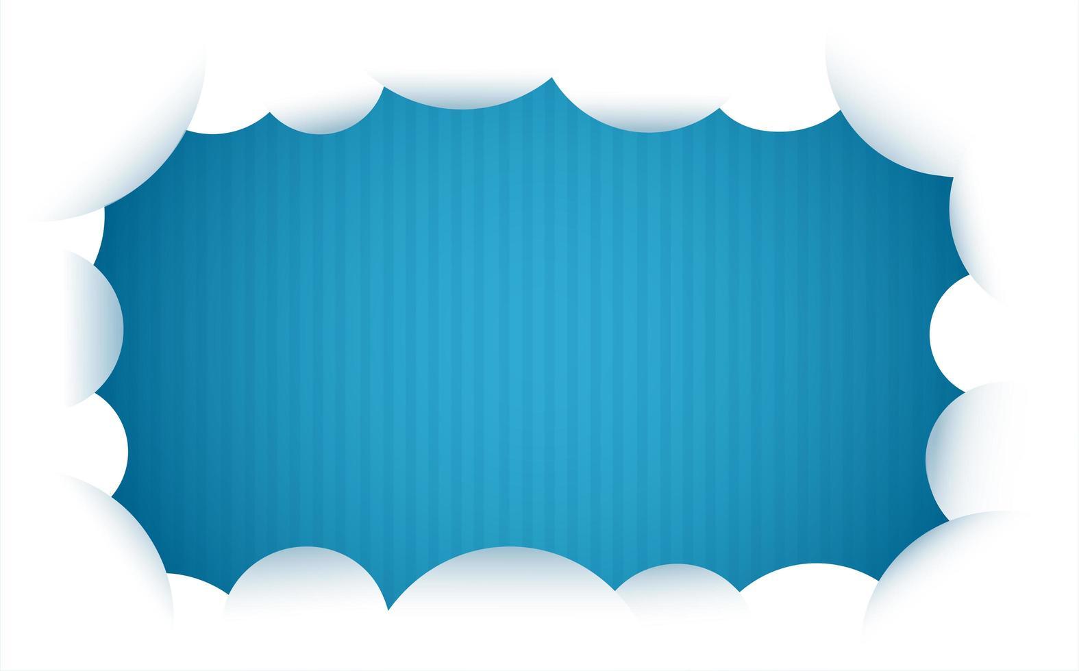 cadre de nuage sur fond rayé bleu vecteur