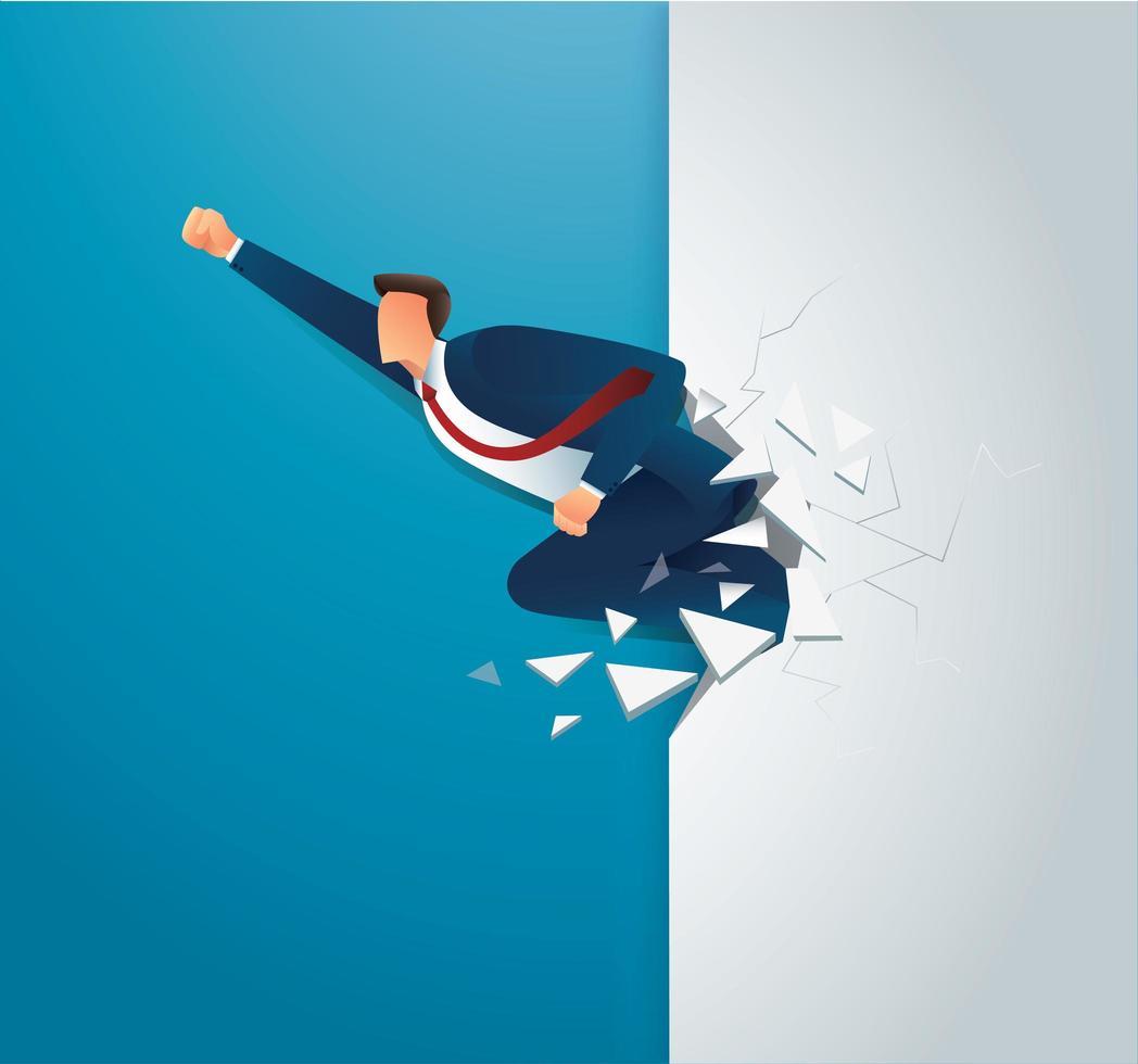 uomo d'affari sfonda il muro per il successo vettore