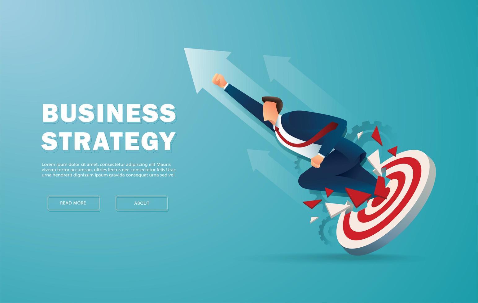 zakenman doorbreekt het doelwit naar succes vector