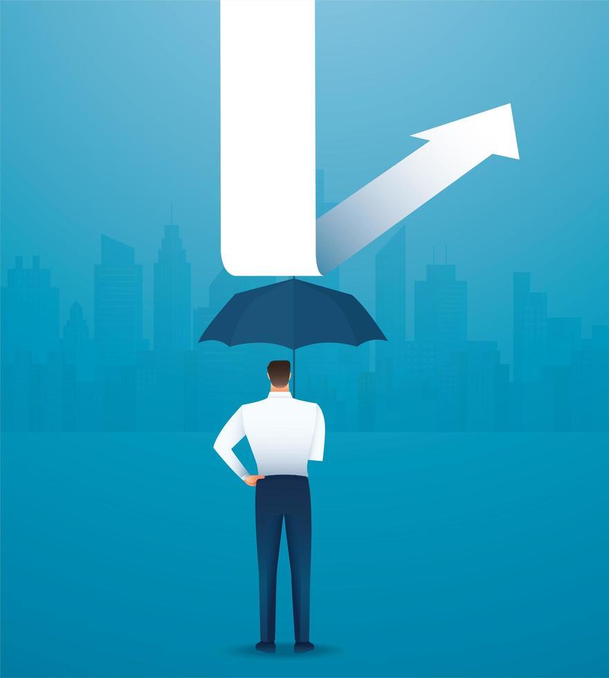 empresario con paraguas para protegerse de la flecha hacia abajo vector