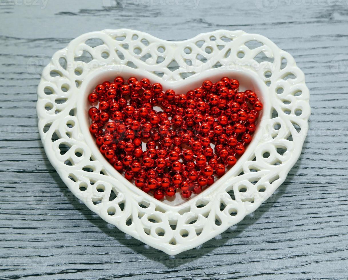 platillo, abalorios, San Valentín foto