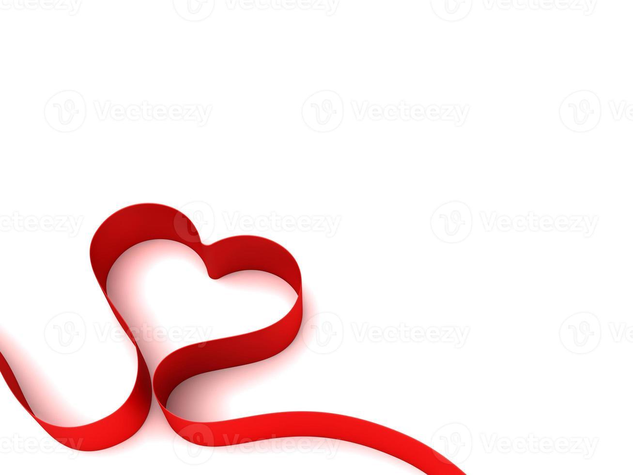 hartvorm gevormd door een rood lint foto