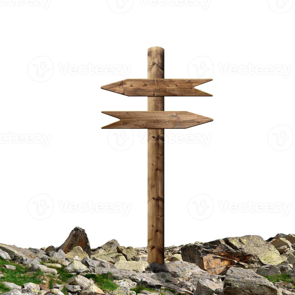 Wooden arrows road sign photo