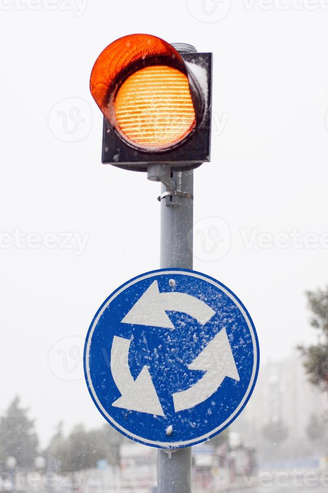 Road sign  and snow photo