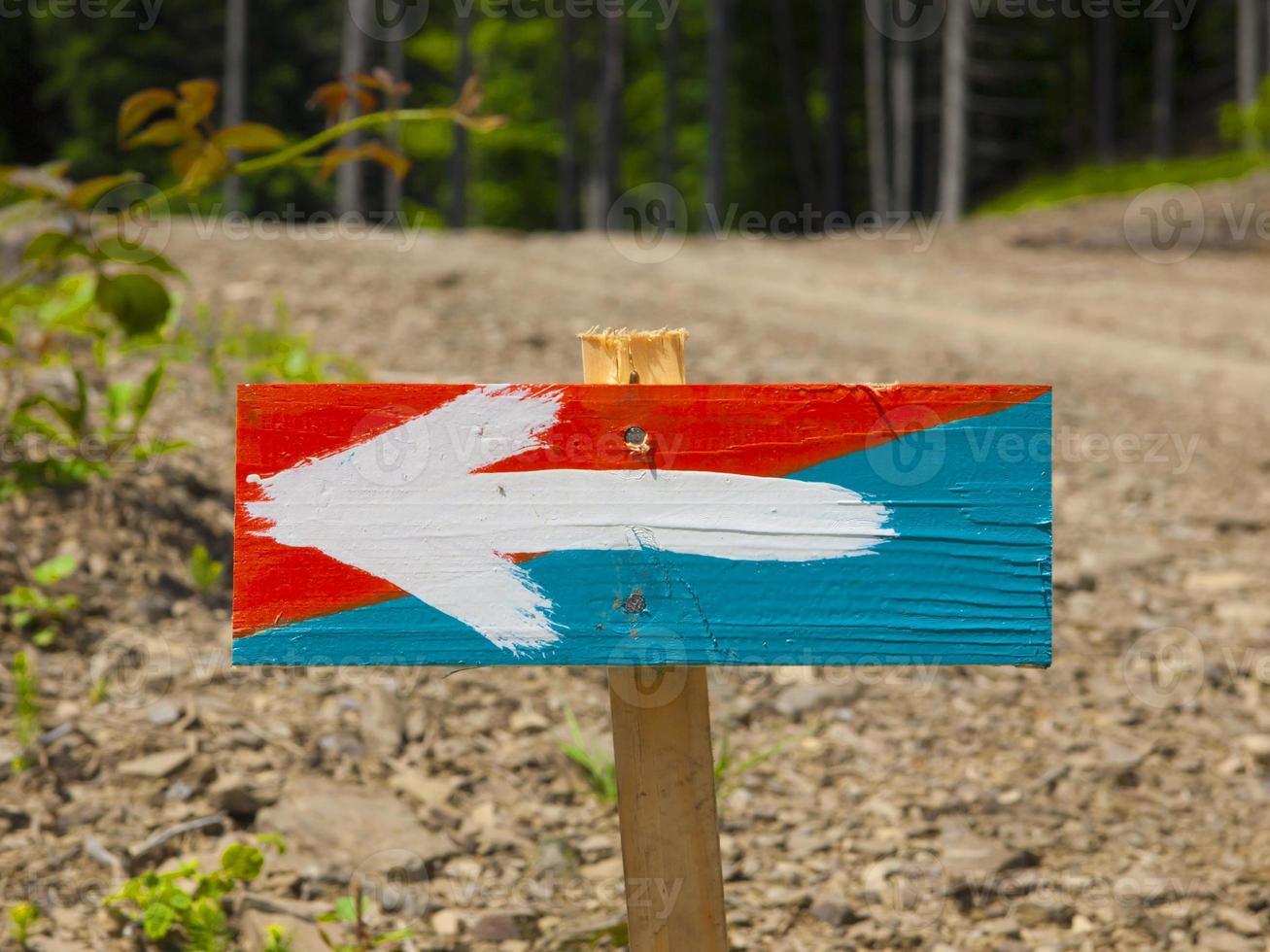 la señal que indica el camino. foto