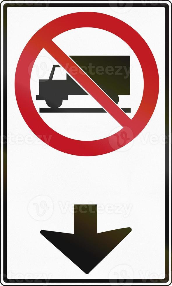 camiones prohibidos adelante en canadá foto
