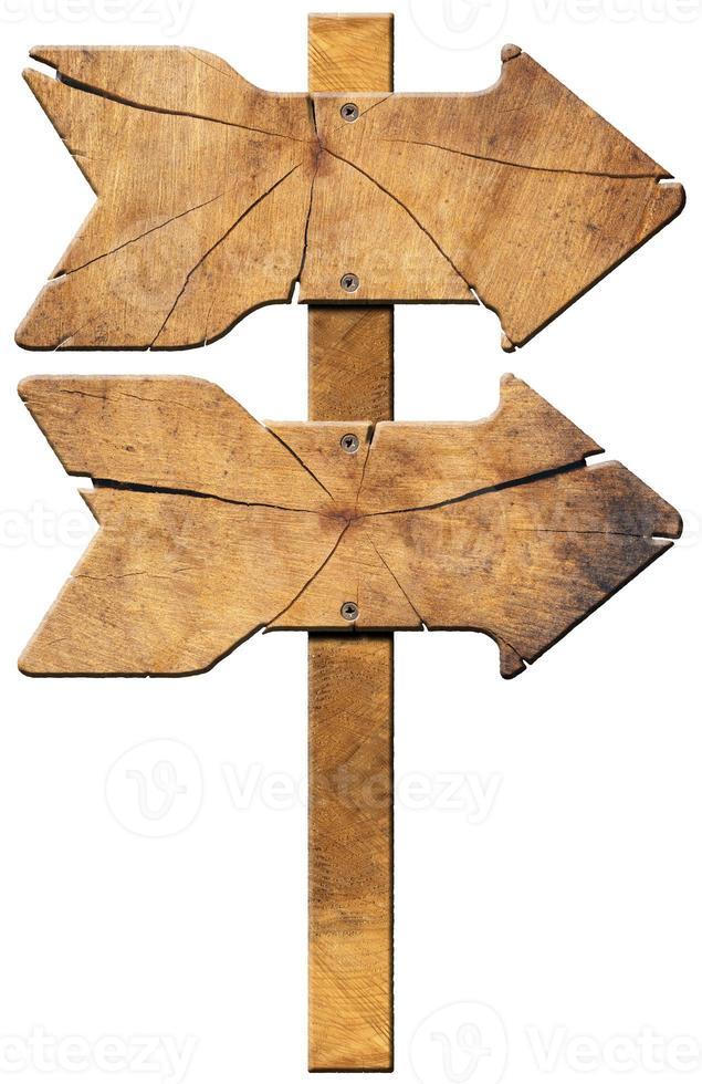 señal direccional de madera - dos flechas foto