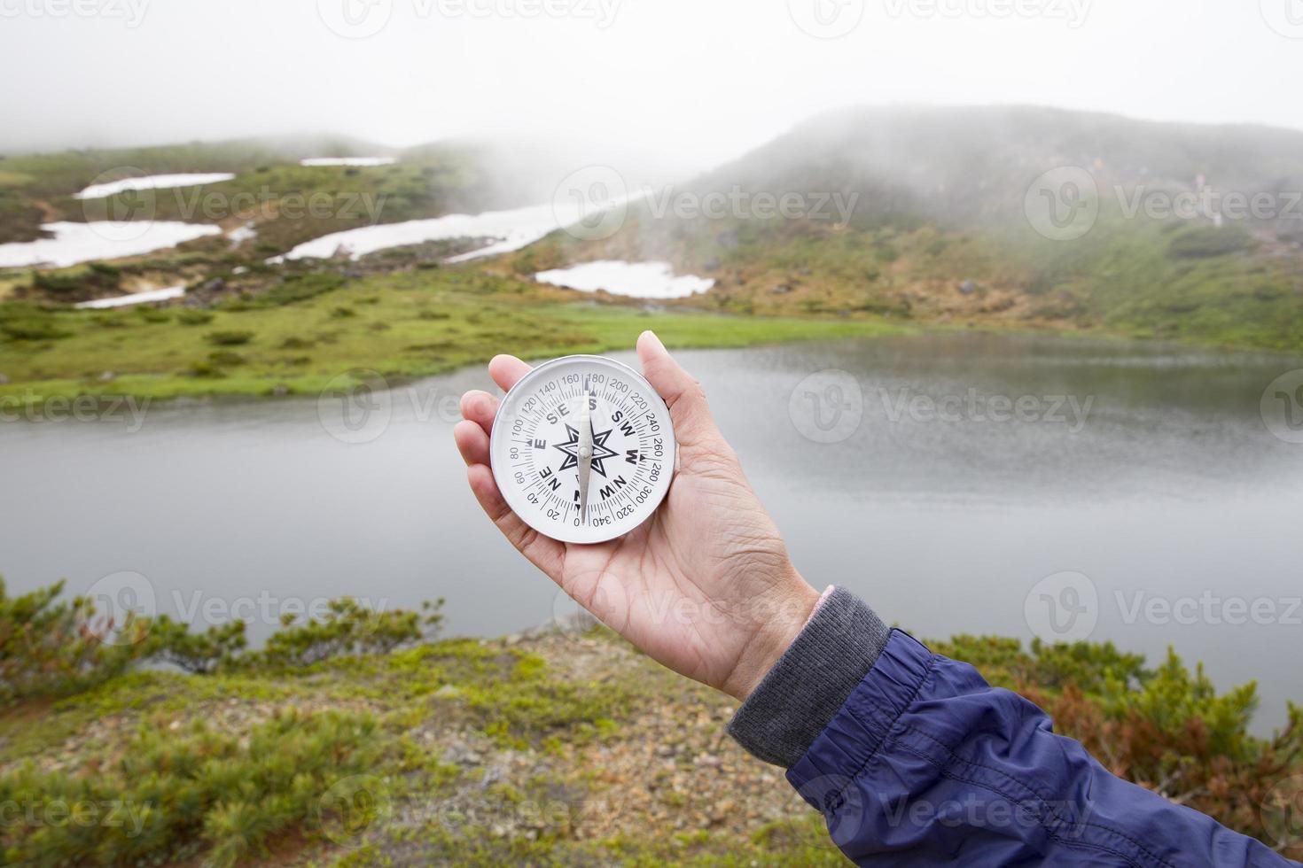 mujer viajera sosteniendo una brújula y apuntando en dirección foto