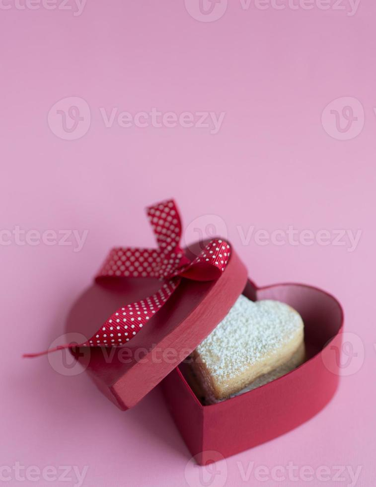 Heart shaped cookies in the gift box. photo