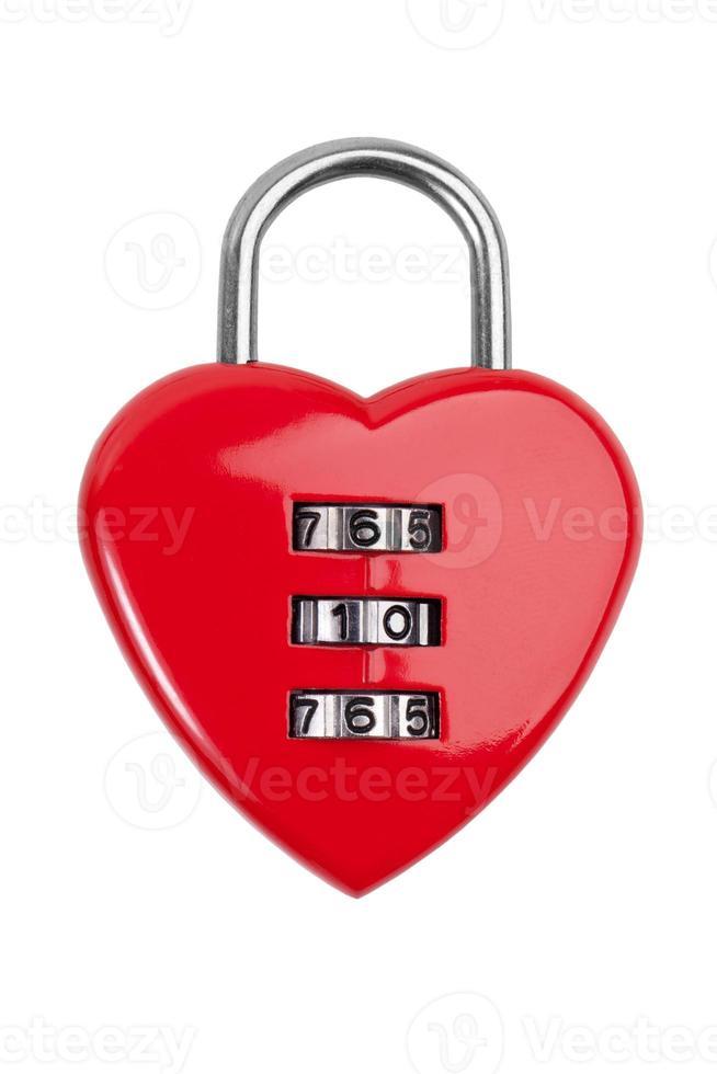 cerradura de combinación con un corazón rojo foto