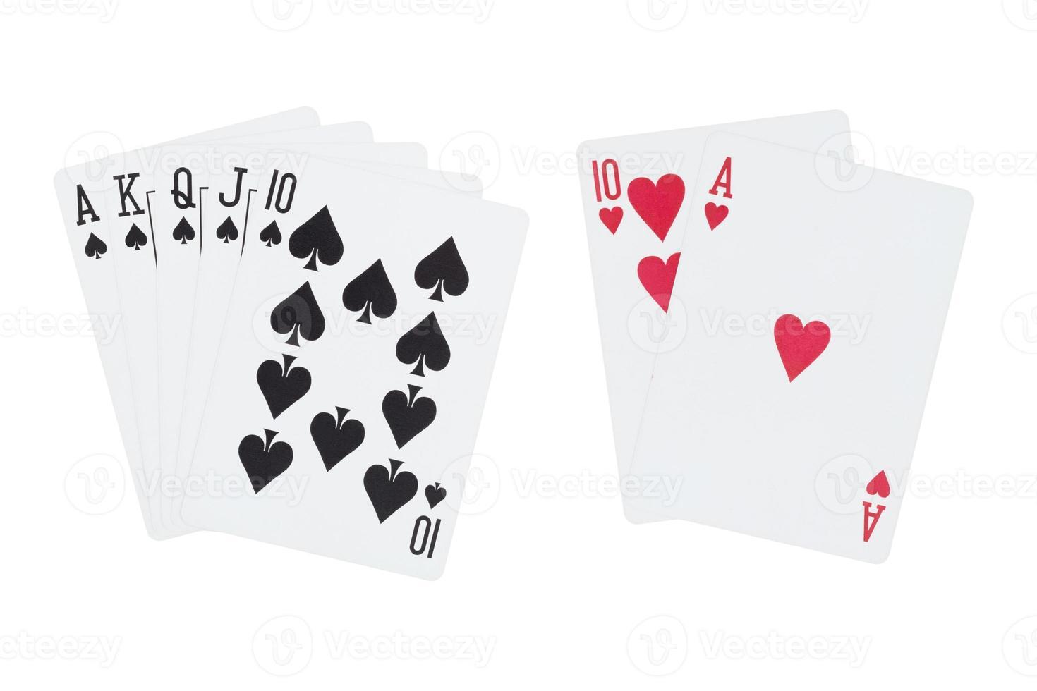 escalera real de picas y cartas de blackjack foto