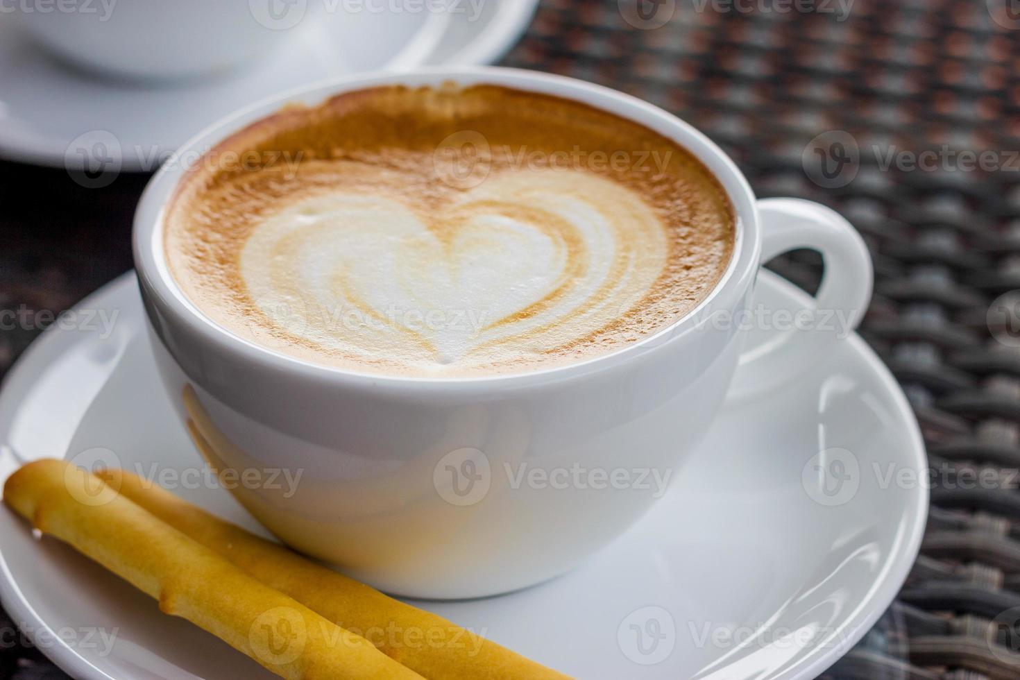 taza de café con corazón foto