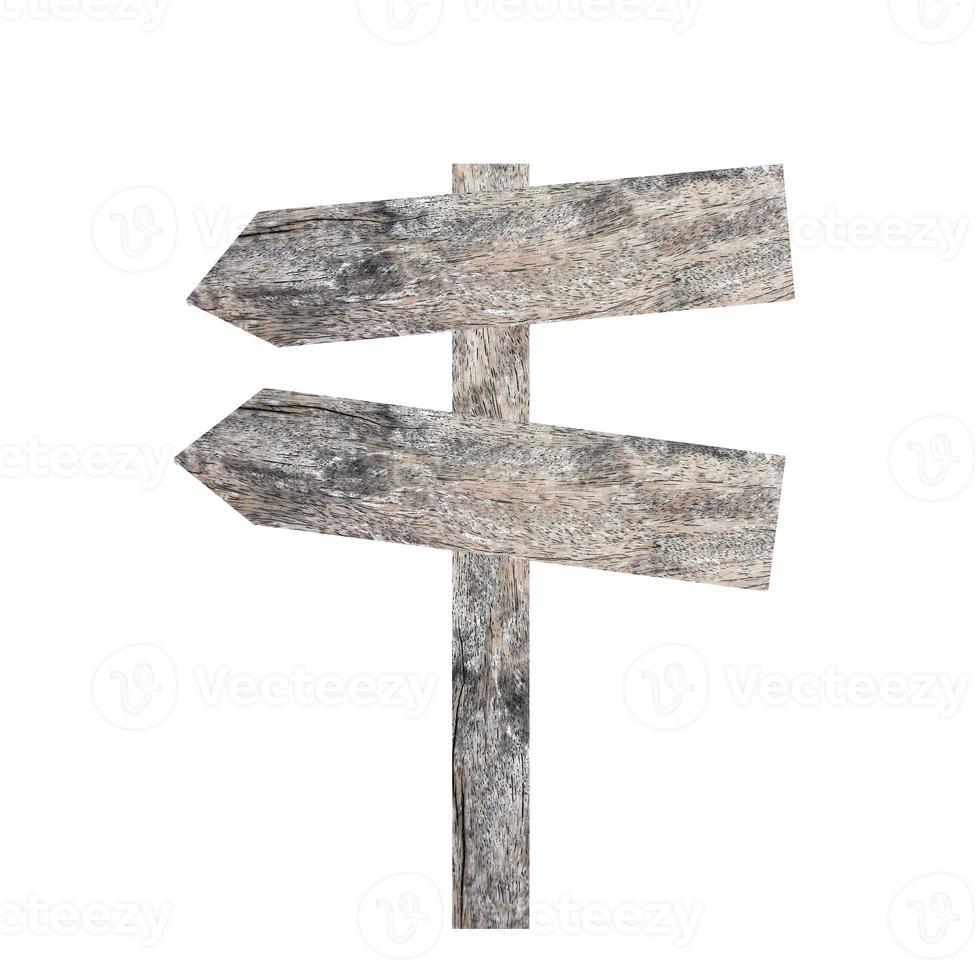 letrero de madera antiguo aislado en blanco. foto