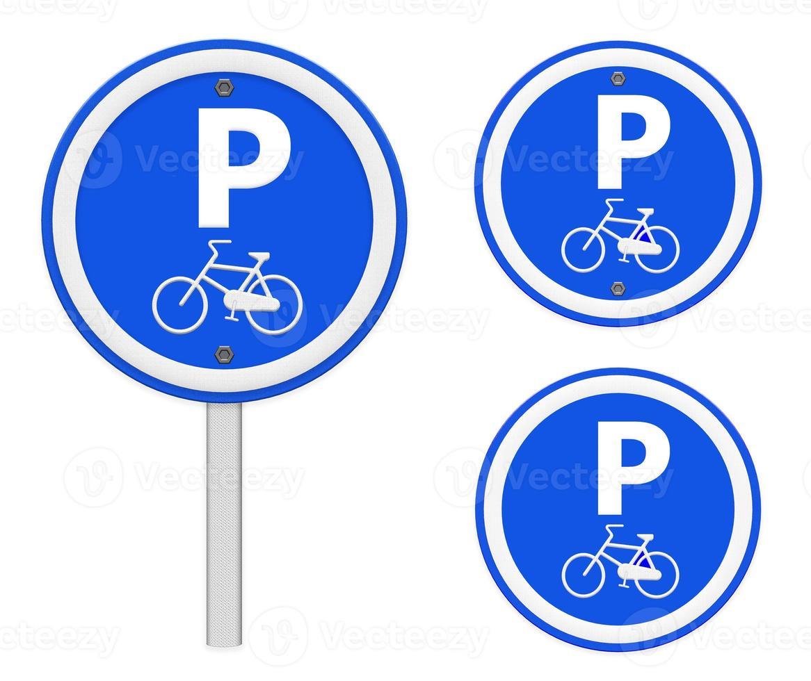 señal de estacionamiento de bicicletas, parte de una serie. foto
