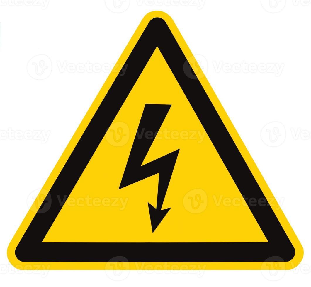 Peligro peligro eléctrico signo de alto voltaje señalización triángulo macro aislado foto