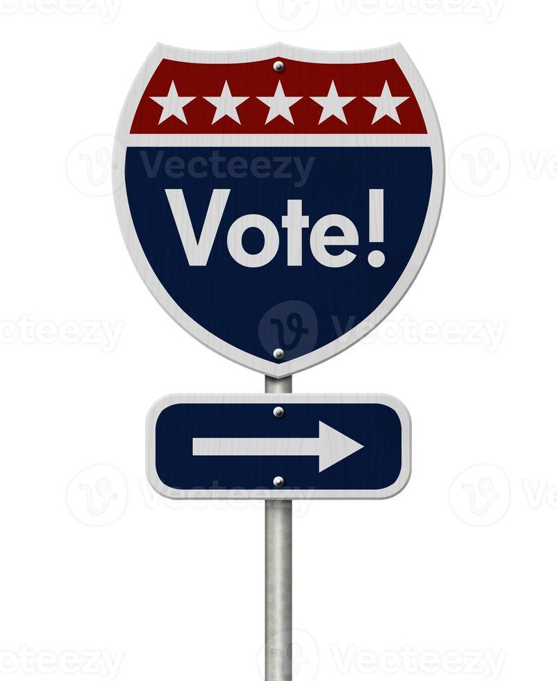 señal de tráfico de la carretera de voto americano foto