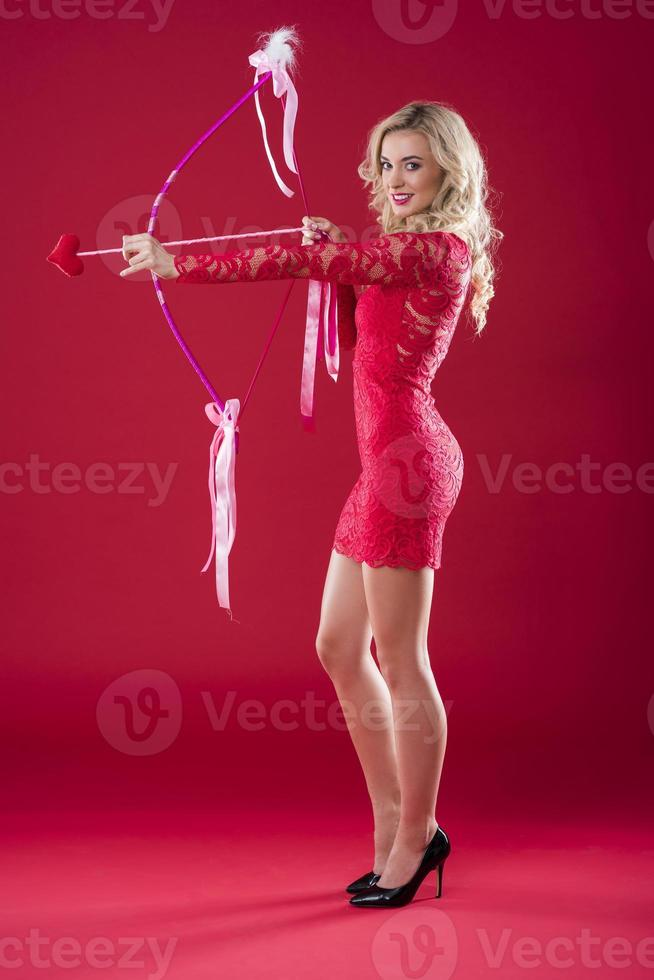 Woman with cupid bow choosing the target photo