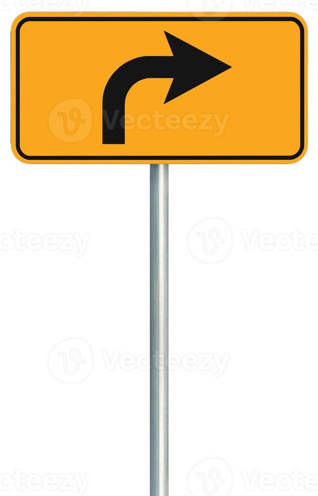 Right turn ahead route road sign, yellow isolated roadside traffic photo