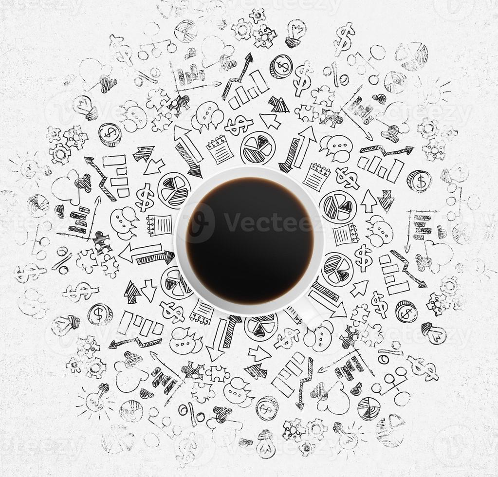 Top view of coffee cup and lot of business icon photo