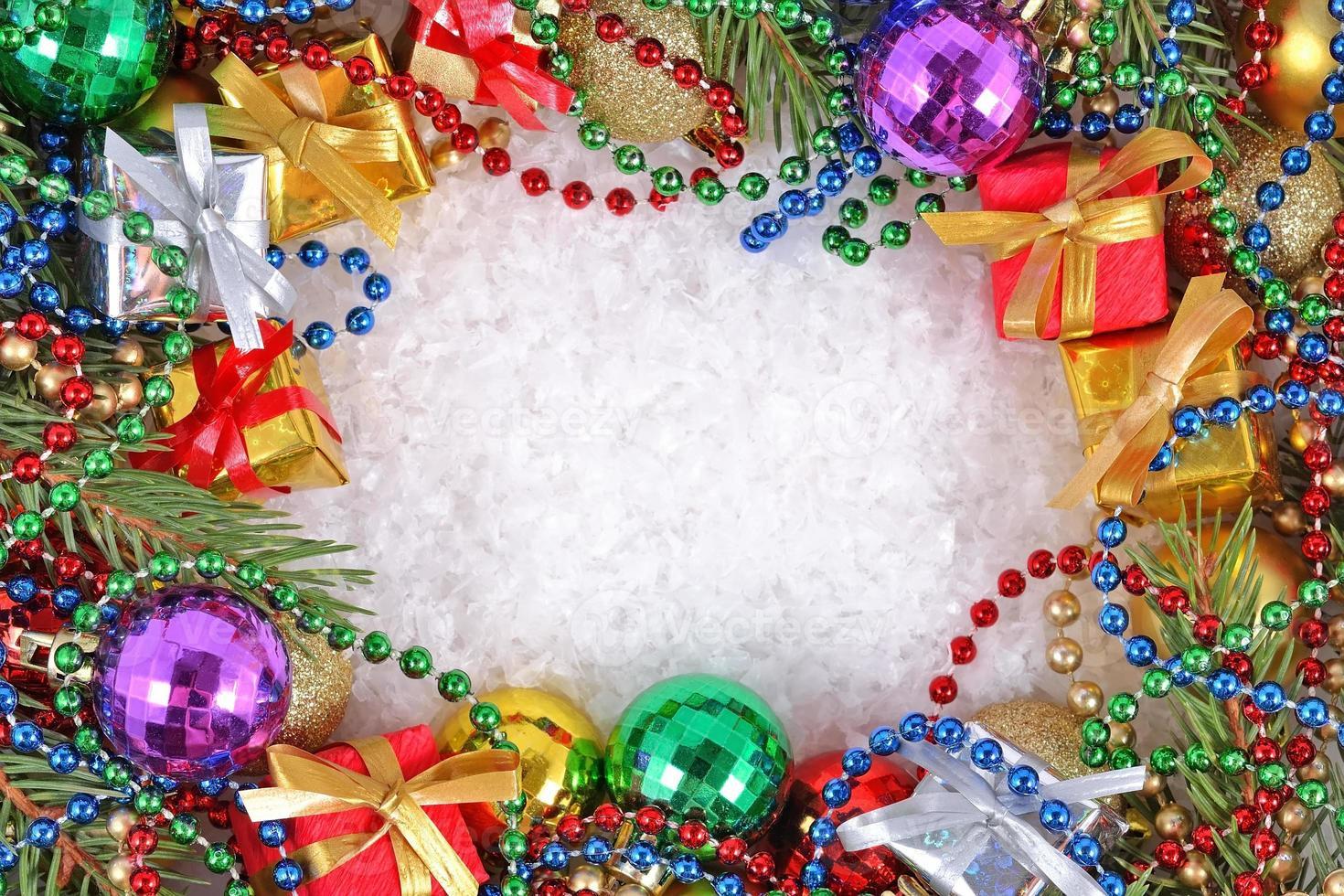 marco de adornos navideños foto