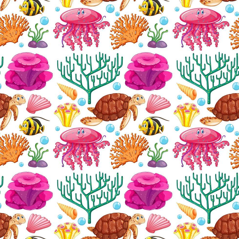 padrão sem emenda com criaturas marinhas e corais vetor