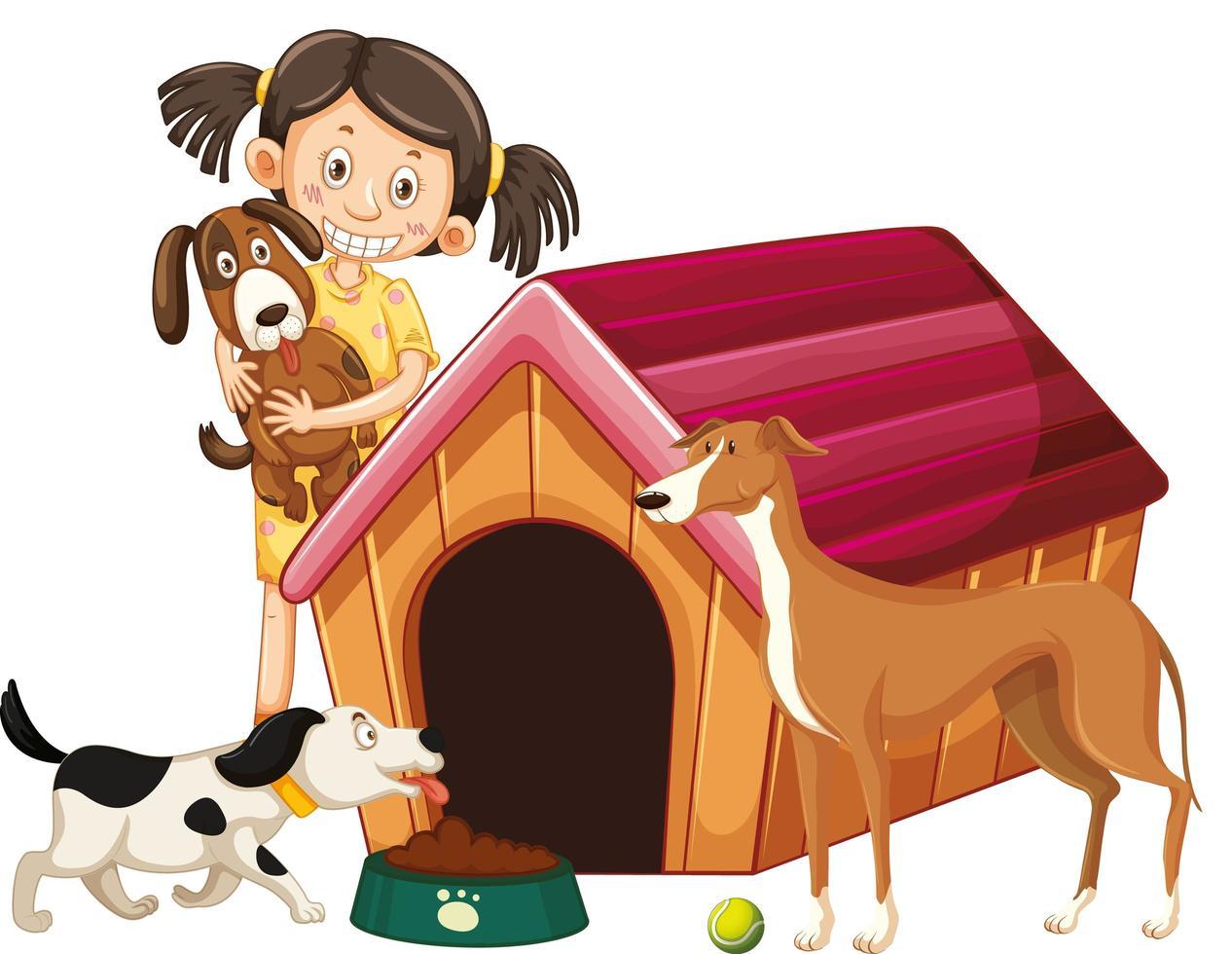 niños con perros sobre fondo aislado vector