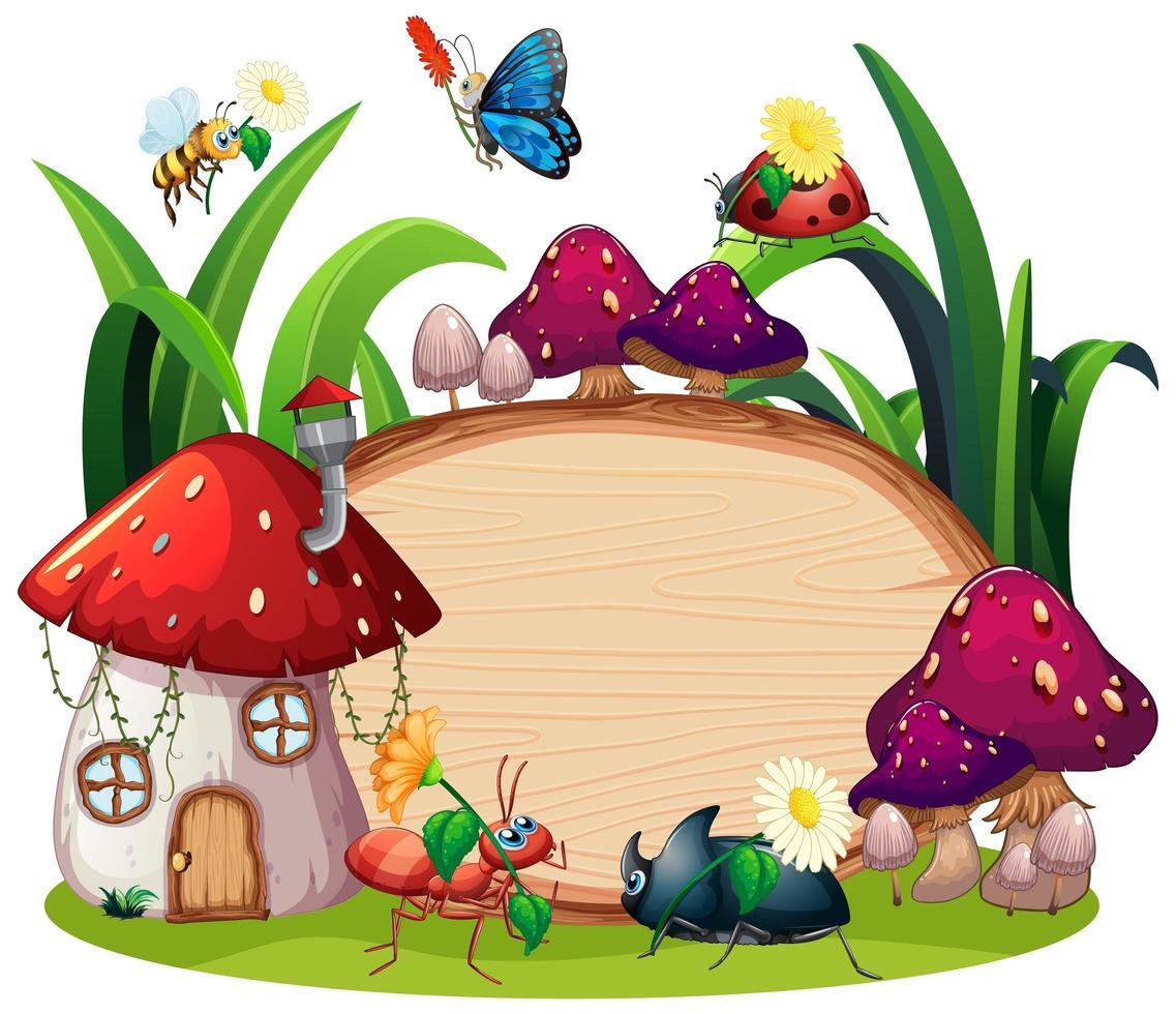 desenho de molde de borda com insetos no jardim vetor