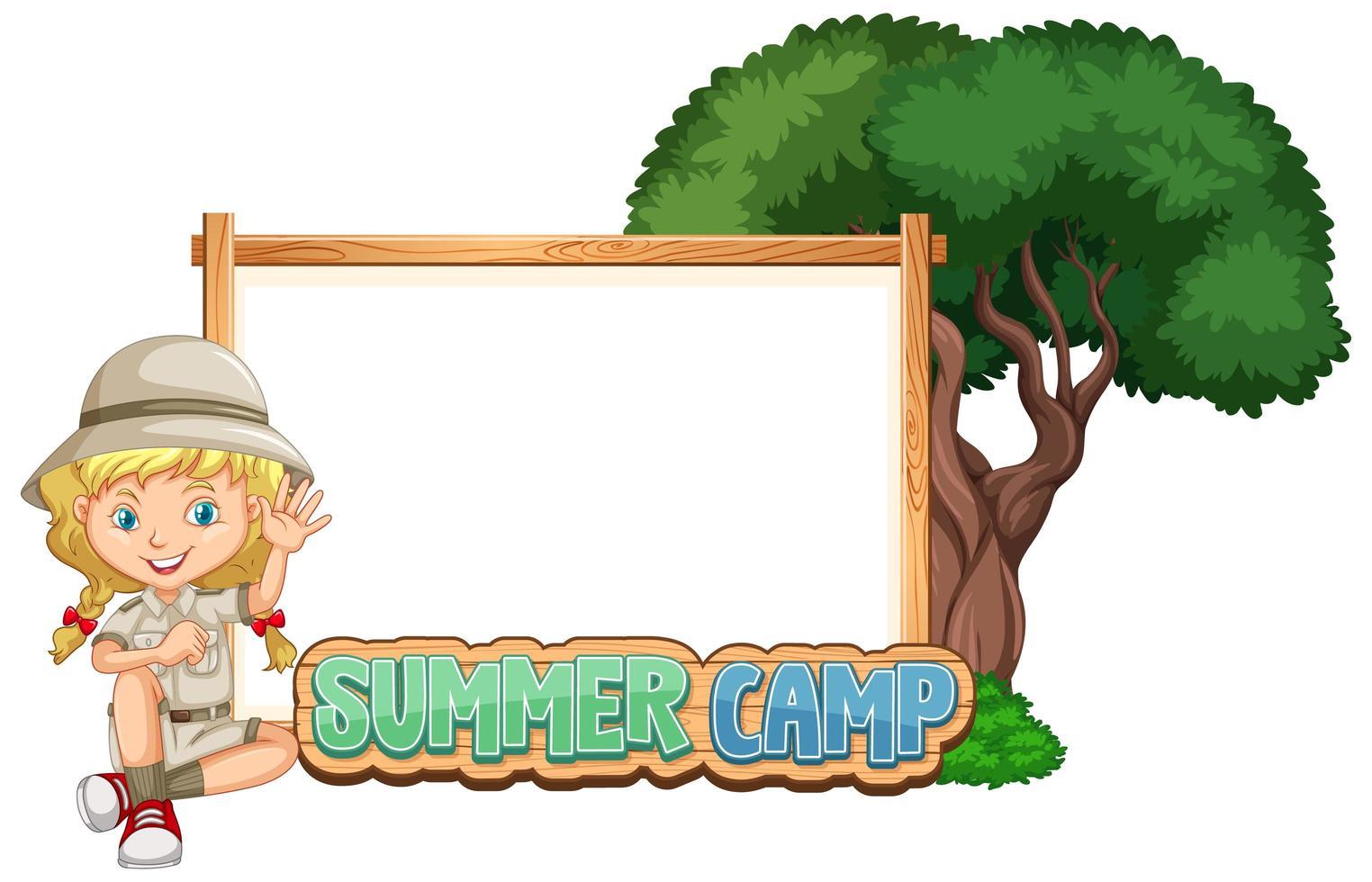 modelo de fronteira com garota no acampamento de verão vetor