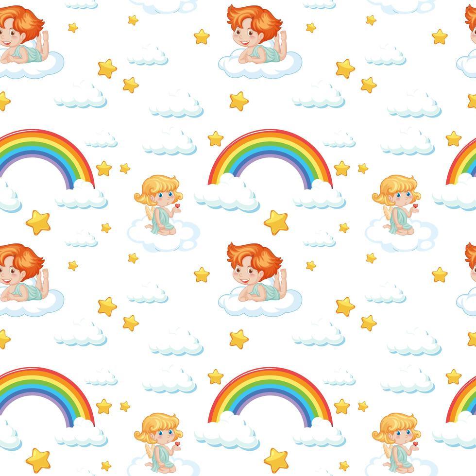 anjo fofo perfeito, arco-íris e padrão de estrela vetor