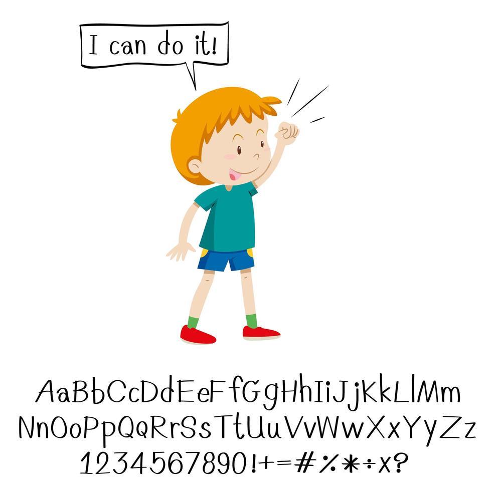 garoto dizendo eu posso fazer isso e alfabeto vetor