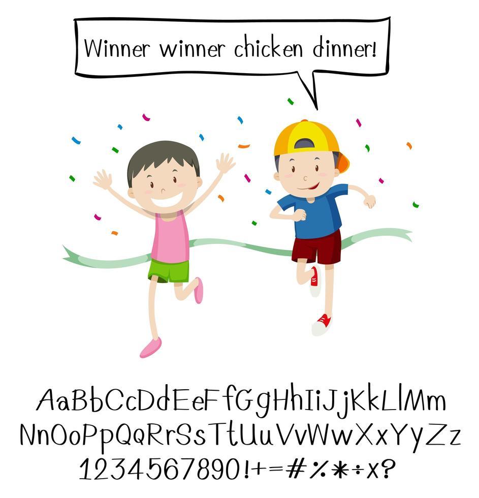 crianças na corrida e no alfabeto vetor