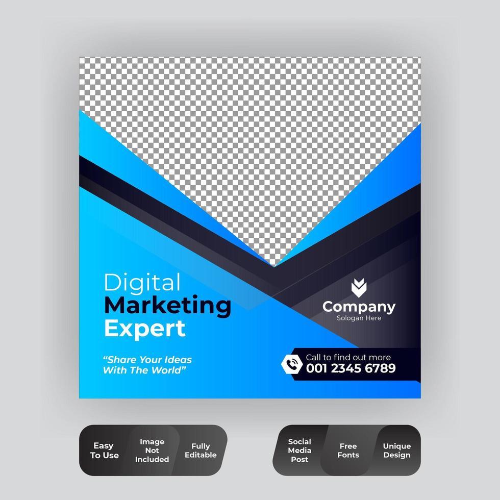 minimale banner sjabloon zwart en blauw geometrisch ontwerp vector