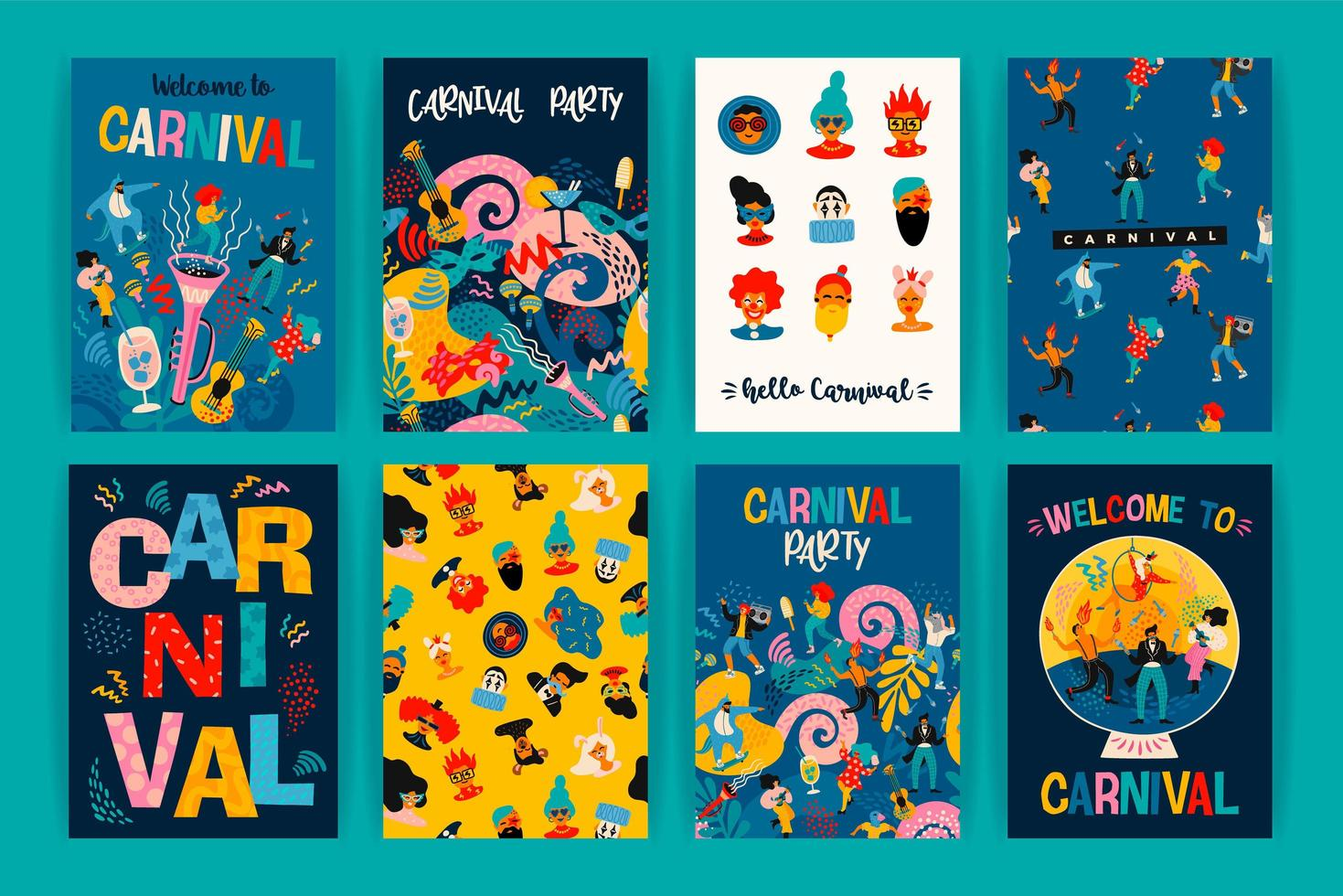 Set of posters for Carnival celebration  vector