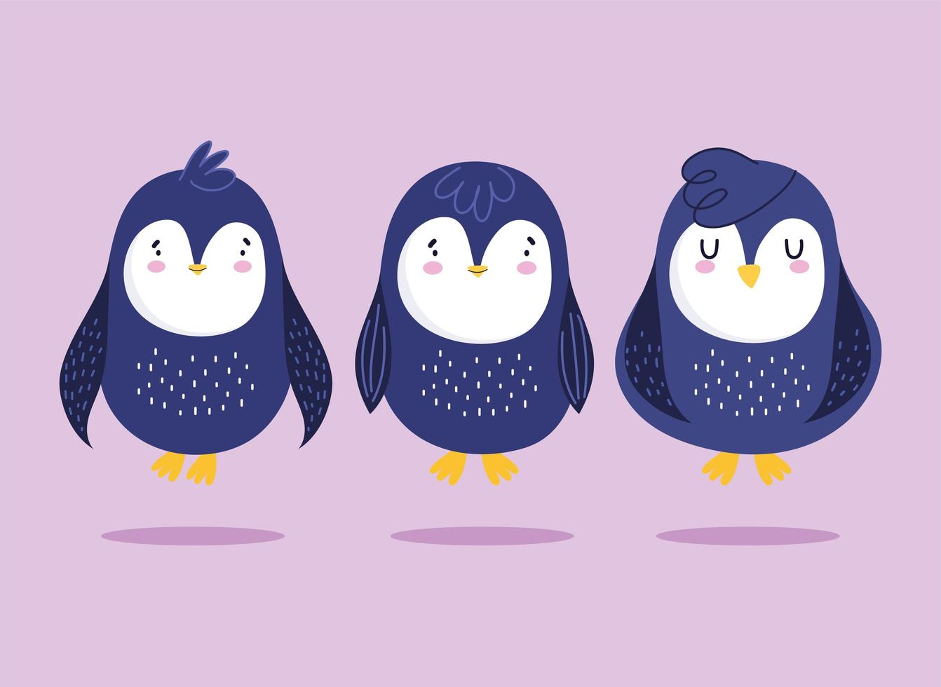 pingüinos dibujos animados pájaro antártico animal fauna conjunto vector
