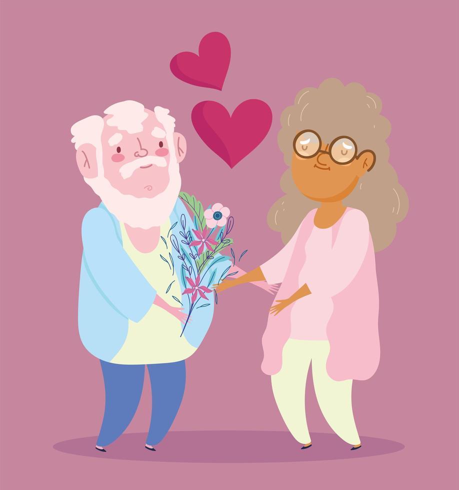 gelukkige grootouders dag, opa bloemen geven vector
