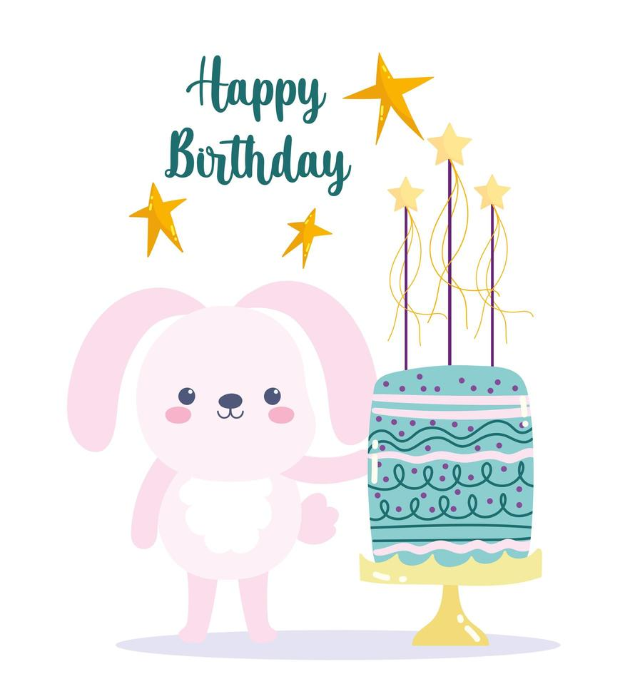 Rabbit with cake and stars card vector