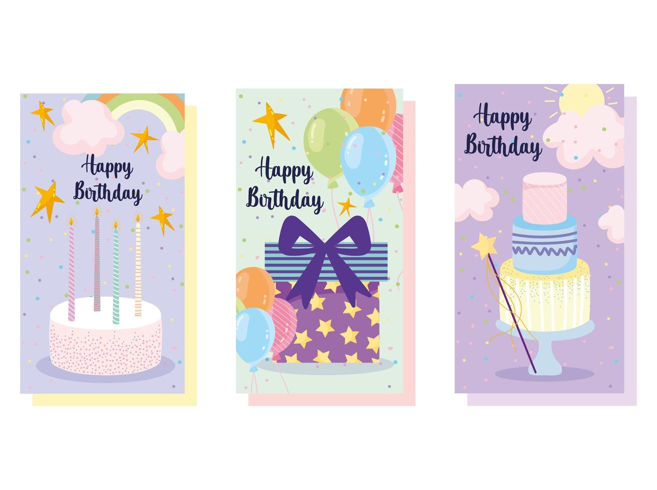 feliz cumpleaños pastel globos vector