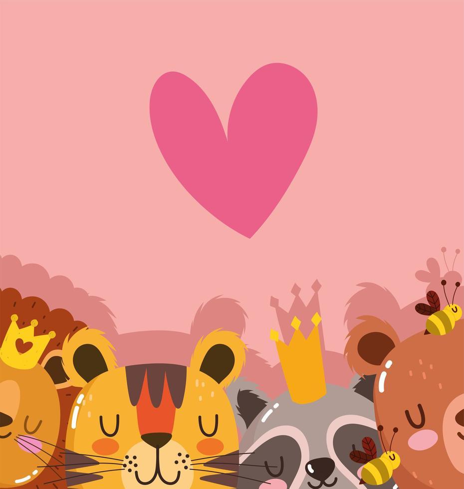 animaux de caractère sauvage avec couronne de coeur vecteur