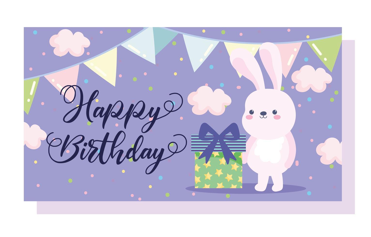 feliz aniversário coelhinho caixa de presente vetor