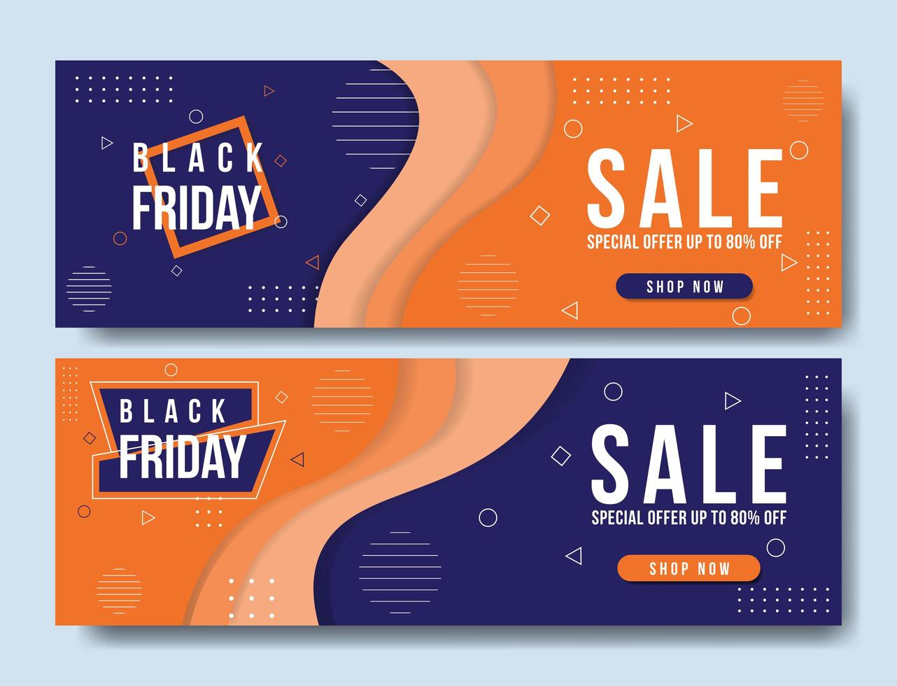 geometrische oranje en paarse zwarte vrijdag verkoop banners vector