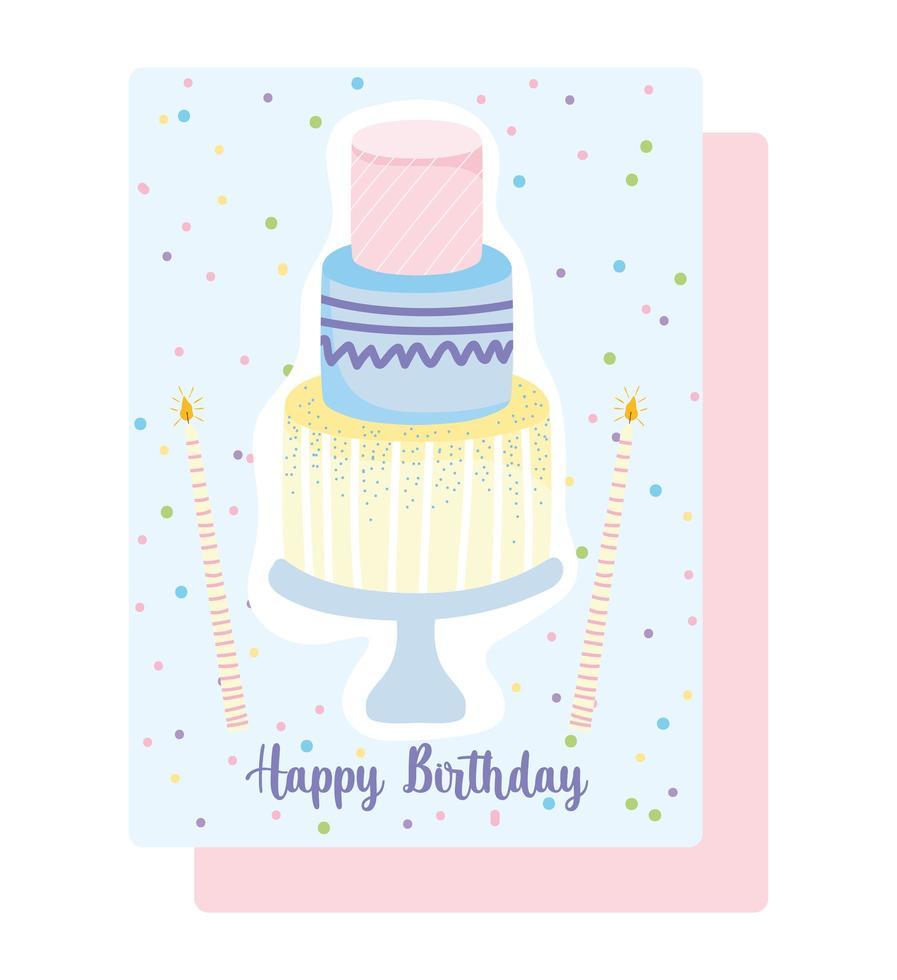 Pastel de feliz cumpleaños en stand con tarjeta de velas vector