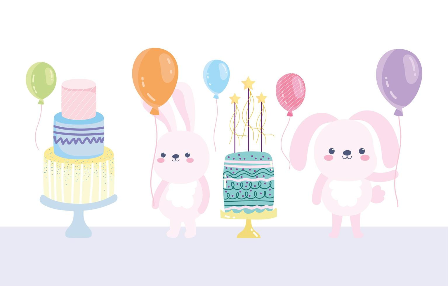 feliz cumpleaños conejos con tortas y globos vector