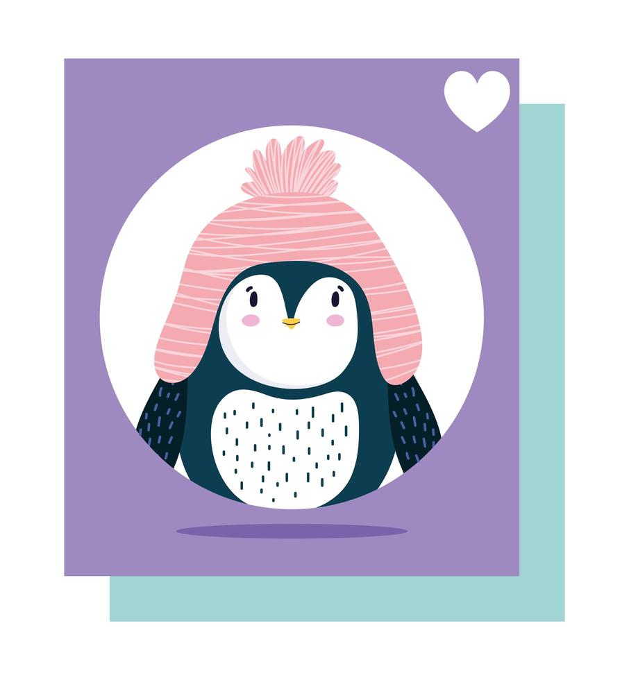 pinguïn roze hoed vogel dierlijk beeldverhaal wildlife kaart vector