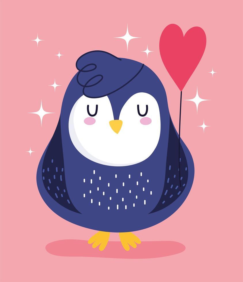 pinguïn vogel dierlijk beeldverhaal ballon vorm hart decoratie vector