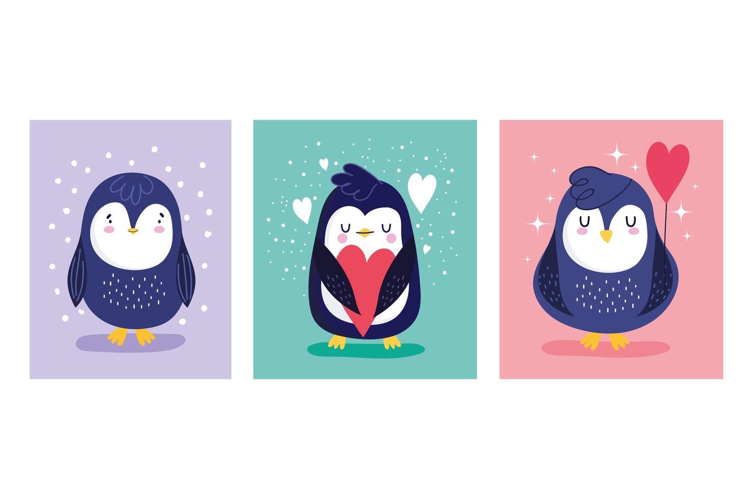 pingüinos personaje de dibujos animados pájaro vector