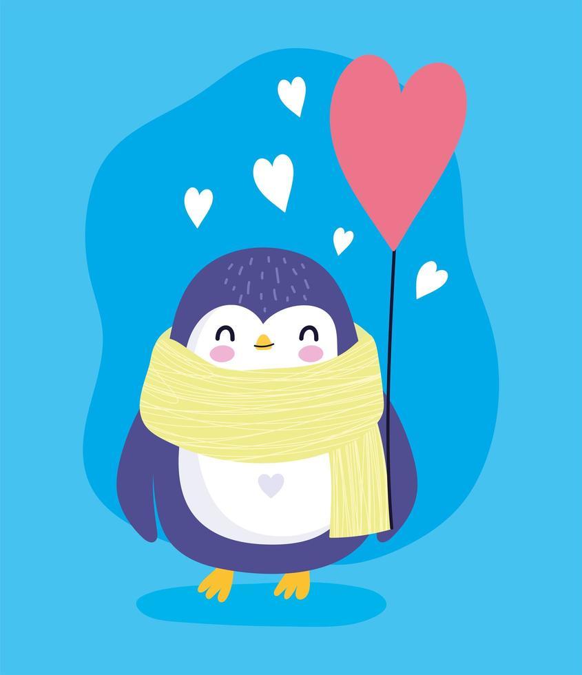 pinguïn met sjaal en ballon hart antarctische vogel dierlijk beeldverhaal dieren in het wild vector