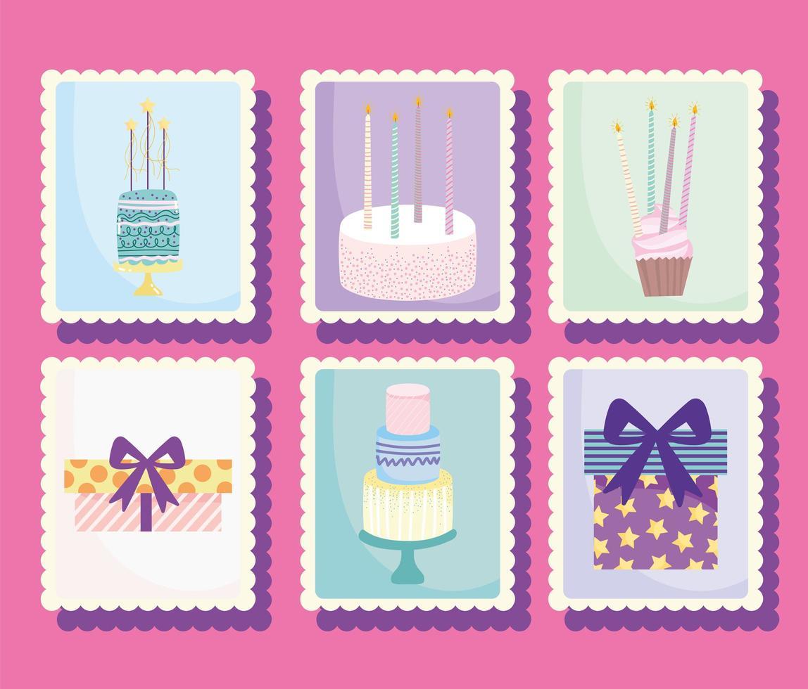 feliz cumpleaños conjunto de sellos vector