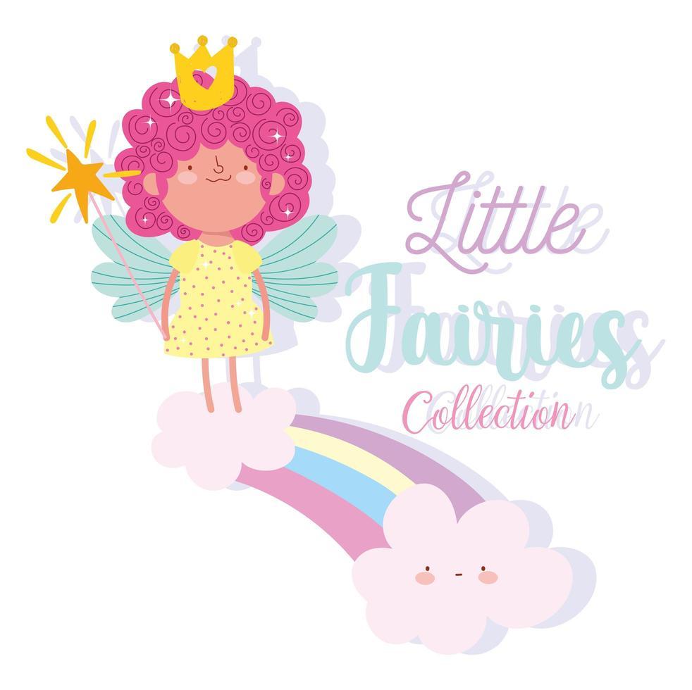 princesa con varita mágica en arco iris vector