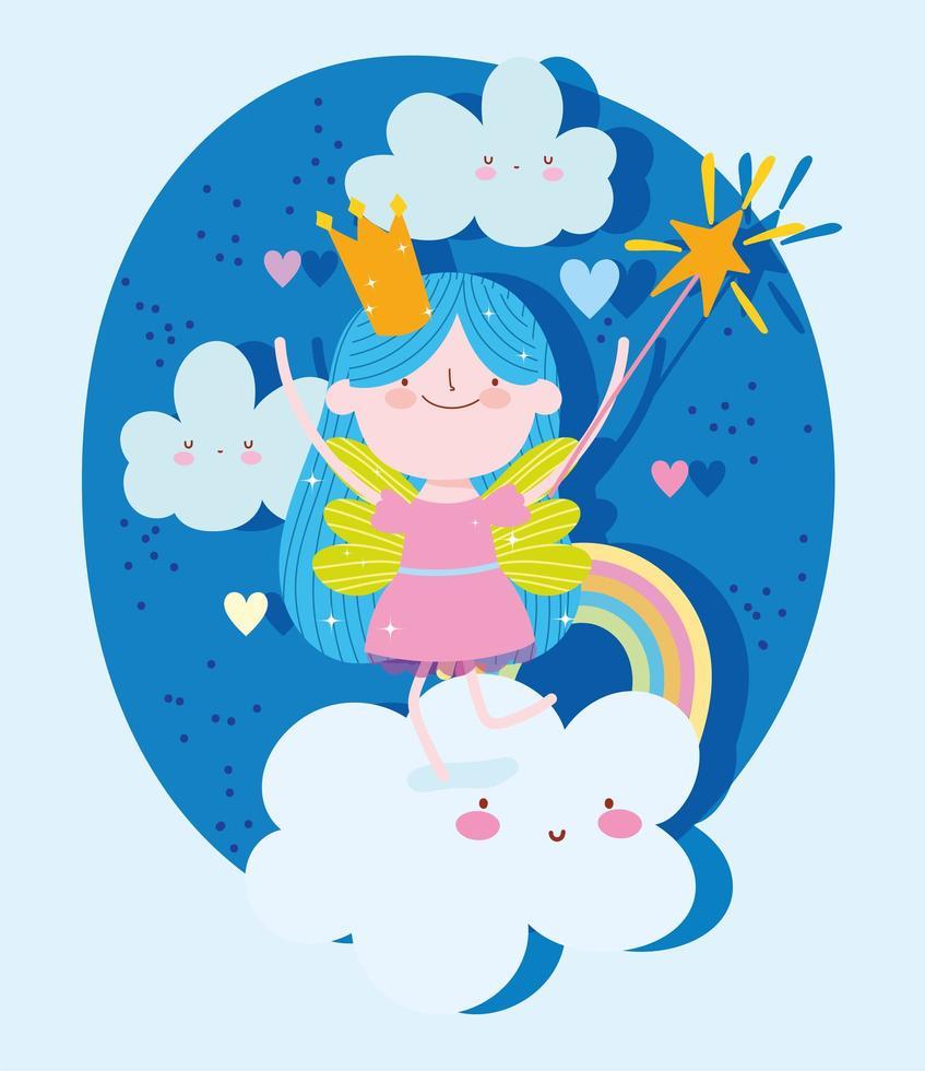 princesse avec baguette magique sur les nuages et arc en ciel vecteur