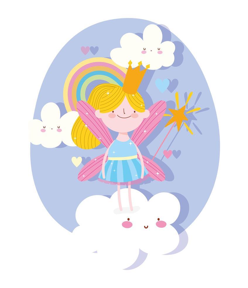 princesa de hadas con nubes arcoiris vector